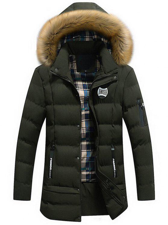 2018 manteau d 39 hiver capuche d tachable avec bordure en fausse fourrure en vert taille l zaful. Black Bedroom Furniture Sets. Home Design Ideas