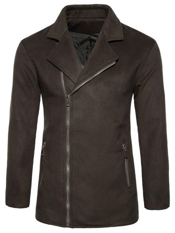 ladies Asymmetric Zip Notch Lapel Fleece Jacket - BROWN M