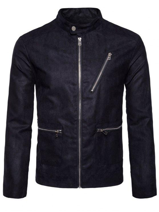 womens Stand Collar Zip Up Faux Suede Jacket - BLACK L