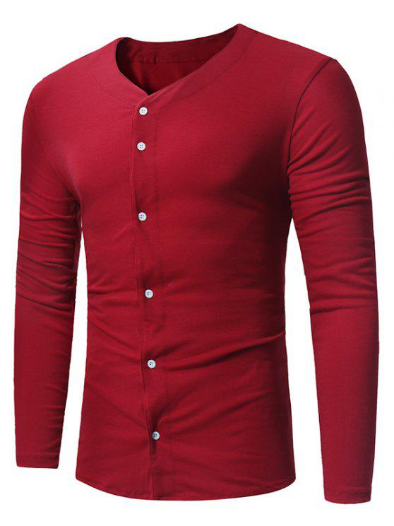 V neck button up long sleeve t shirt wine red tees for V neck button up shirt