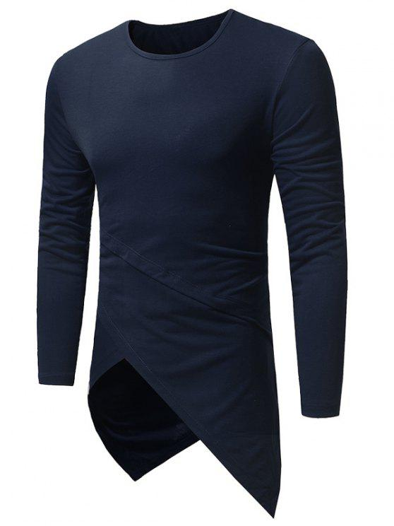 80ce48555f23 20% OFF] 2019 Crew Neck Long Sleeve Longline Asymmetric T-Shirt In ...