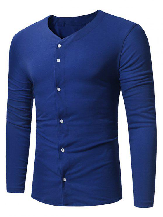 buy V Neck Button Up Long Sleeve T-shirt - ROYAL 2XL