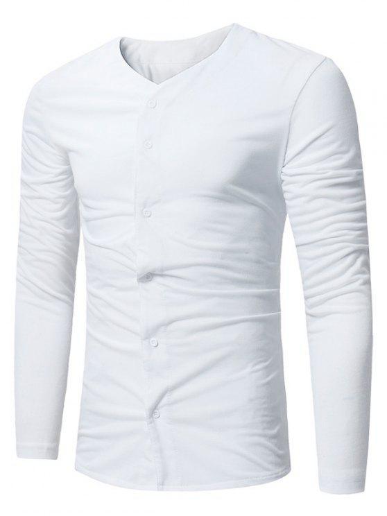 Maglietta Con Bottoni E Scollo A V - Bianca XL