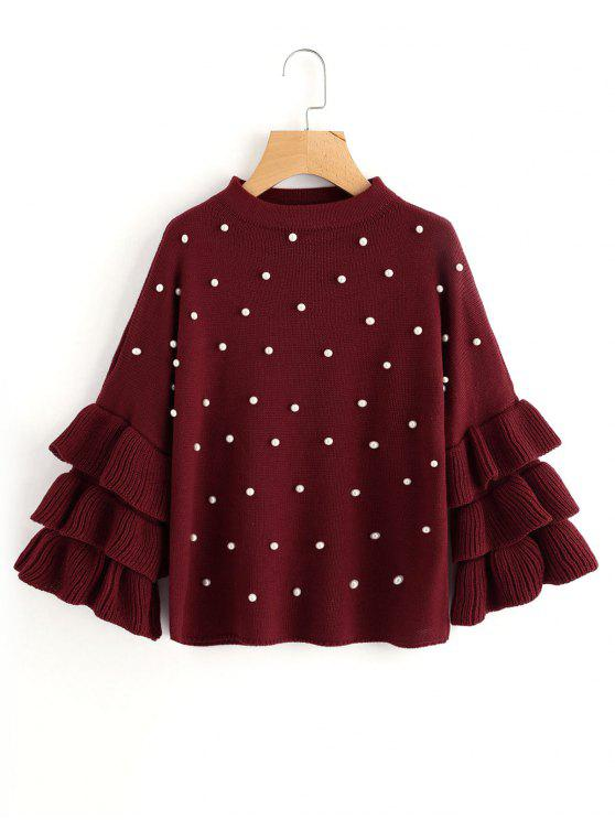 chic Layered Sleeve Faux Pearls Sweater - WINE RED ONE SIZE