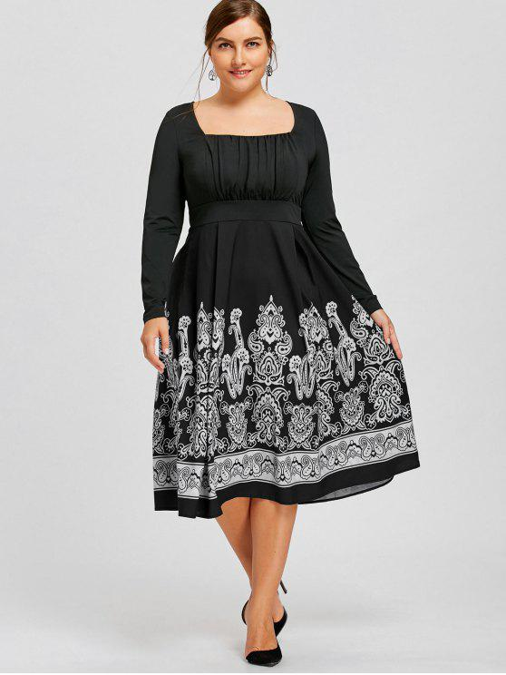 25% OFF] 2019 Plus Size Long Sleeve Paisley Midi Dress In BLACK | ZAFUL