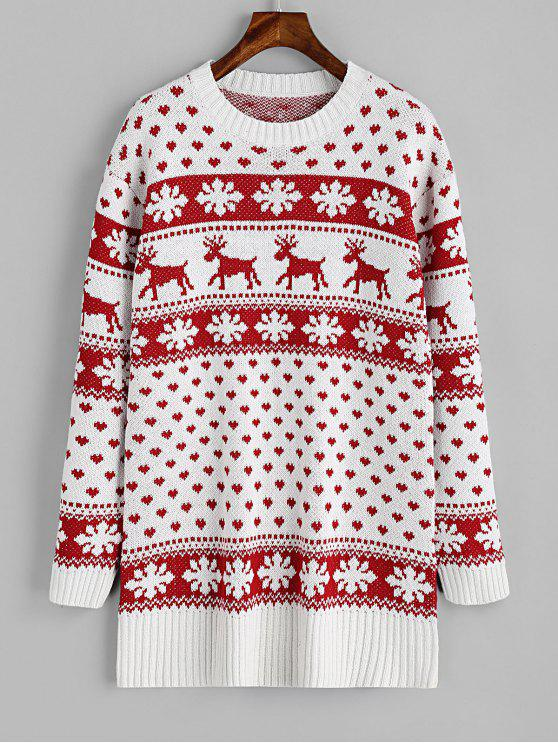 unique Elk Heart Christmas Sweater - RED AND WHITE S