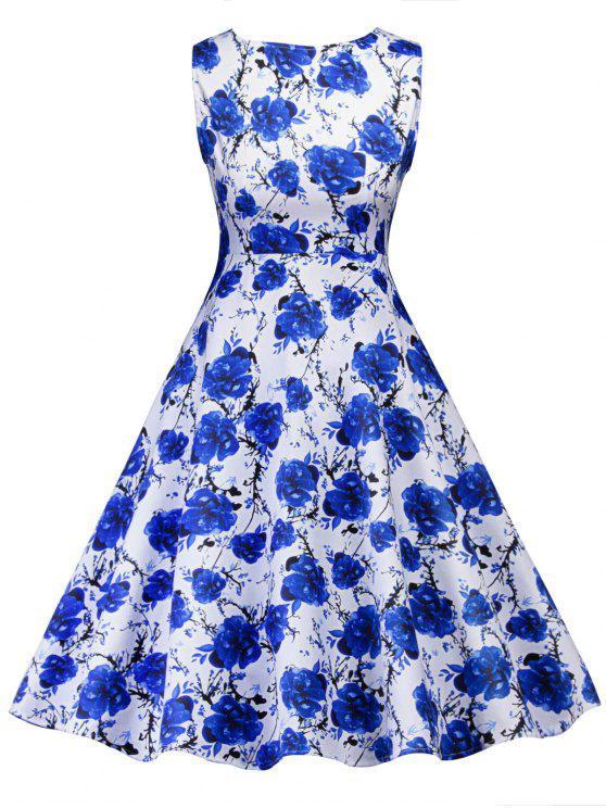 Retro Blumendruck Party Pin Up Kleid Blau: Kleider 2018 M | ZAFUL