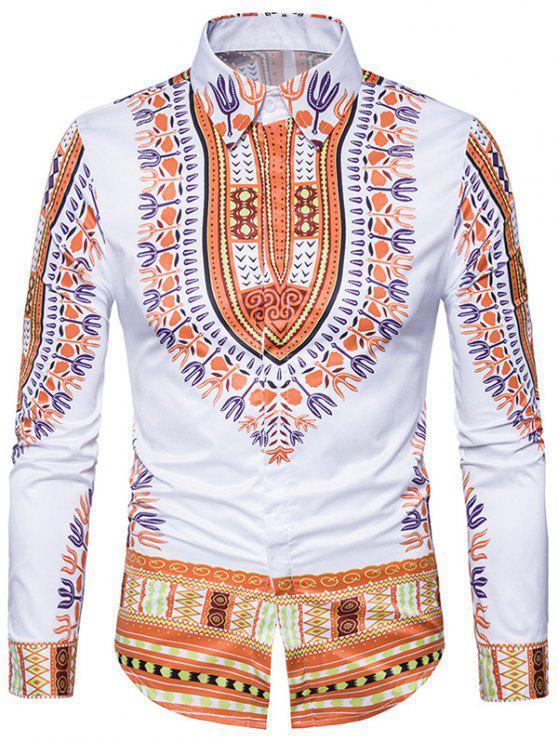 قميص طويل الأكمام نمط العرقية داشيكي طباعة - الأصفر 3XL