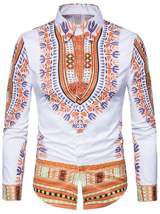 hot Ethnic Style Dashiki Print Long Sleeve Shirt - YELLOW XL
