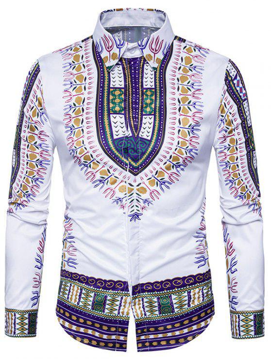 قميص طويل الأكمام نمط العرقية داشيكي طباعة - أرجواني M