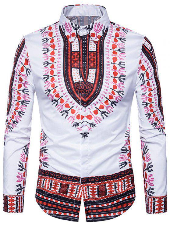 2a15ce47323ae 25% OFF  2019 Ethnic Style Dashiki Print Long Sleeve Shirt In RED ...