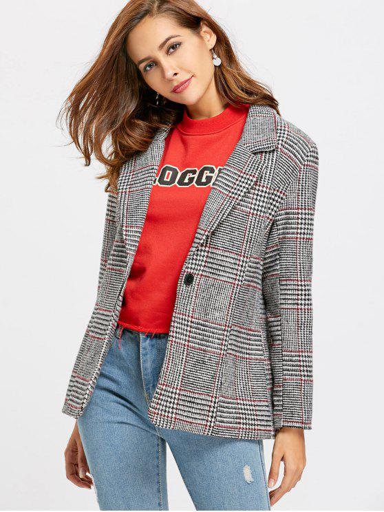 hot One Buttoned Plaid Blazer - CHECKED S