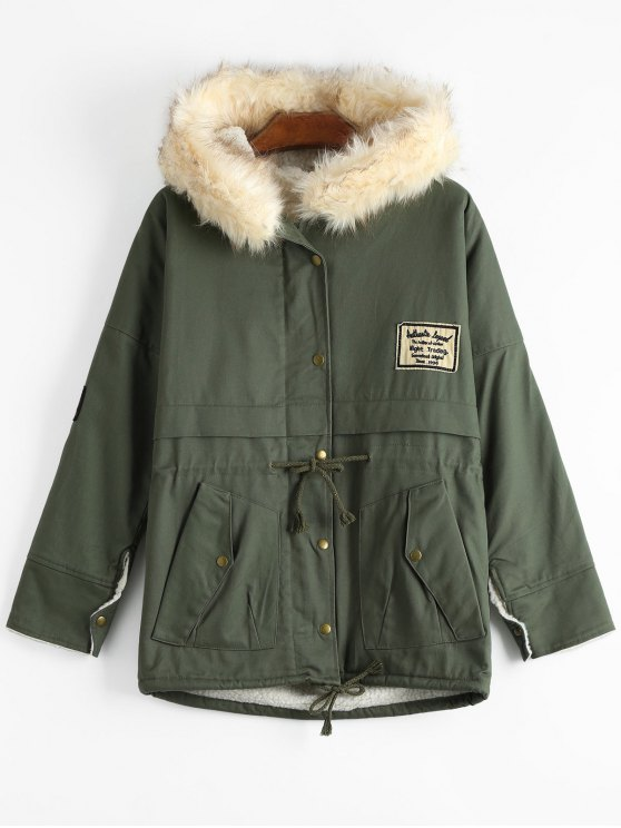 outfits Patchwork Faux Fur Trim Hooded Shearling Coat - ARMY GREEN ONE SIZE