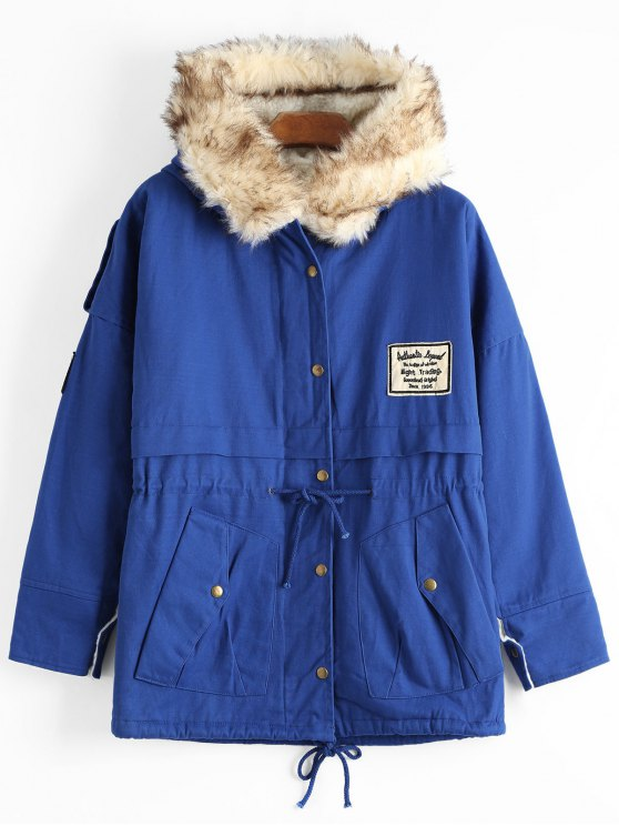 online Patchwork Faux Fur Trim Hooded Shearling Coat - DEEP BLUE ONE SIZE
