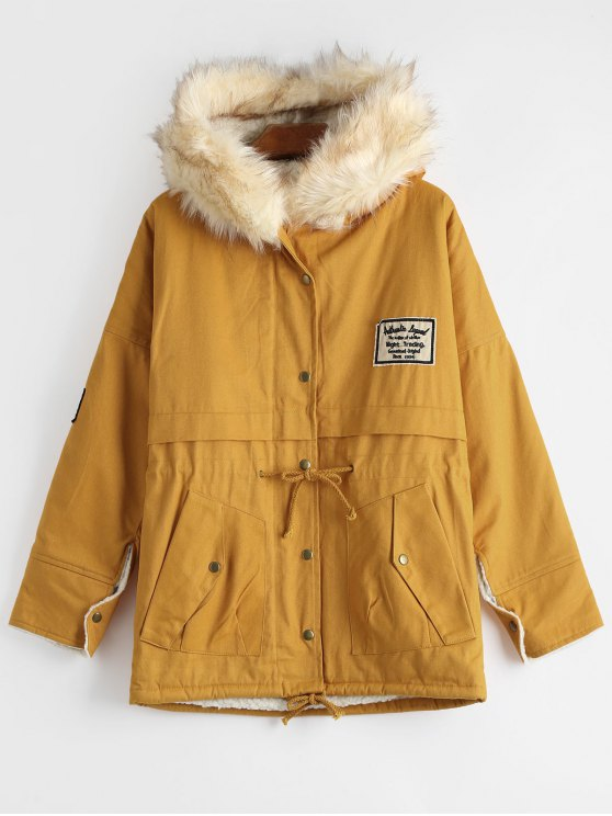women's Patchwork Faux Fur Trim Hooded Shearling Coat - GINGER ONE SIZE