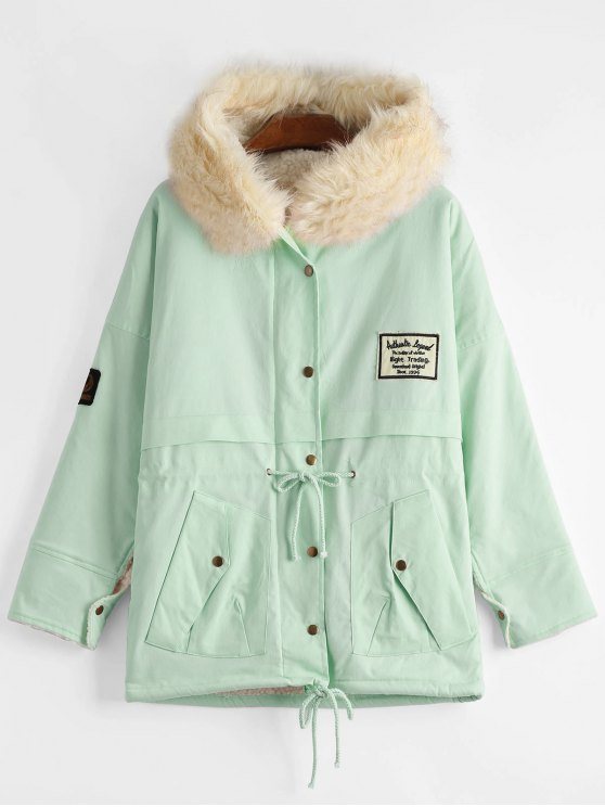 affordable Patchwork Faux Fur Trim Hooded Shearling Coat - LIGHT GREEN ONE SIZE