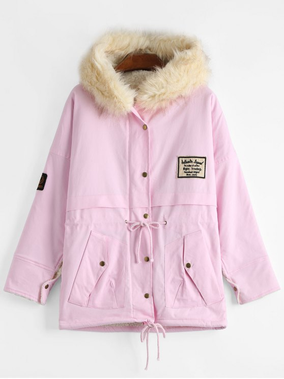 chic Patchwork Faux Fur Trim Hooded Shearling Coat - LIGHT PINK ONE SIZE