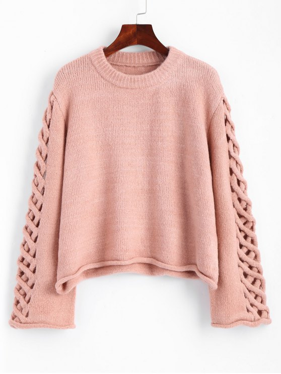 latest Oversized Braided Sleeve Pullover Sweater - PINK ONE SIZE
