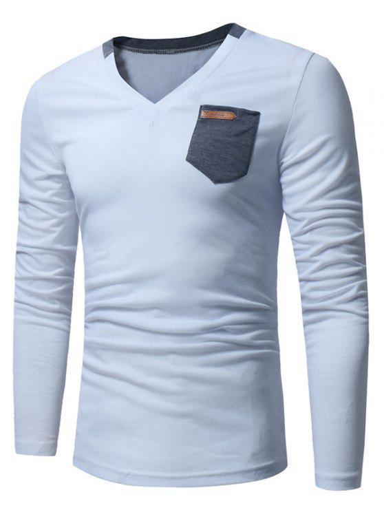 T-shirt Longues Manches à Encolure en V et Embellie de Poches - Blanc 2XL