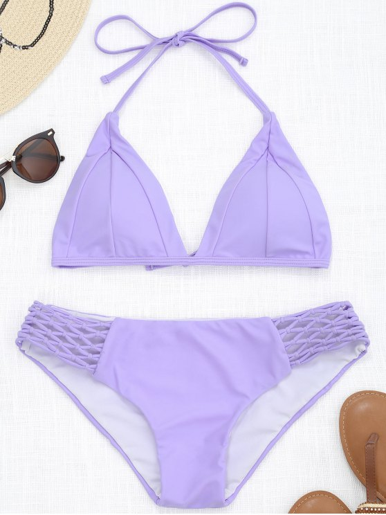 trendy Halter Macrame Bathing Suit - PURPLE S