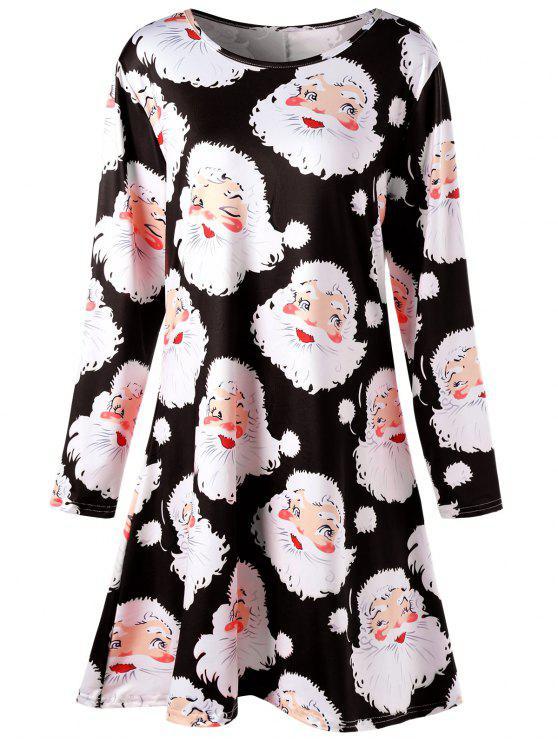 Plus Size Weihnachtsmann Print Mini Swing Kleid - Schwarz 3XL