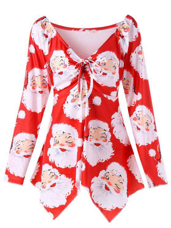 unique plus size santa claus print christmas t shirt red 5xl