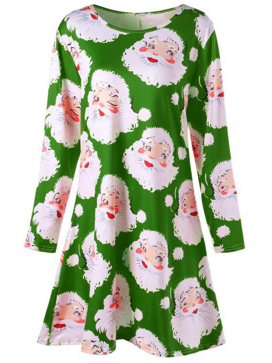 women's Plus Size Santa Claus Print Mini Swing Dress - GREEN 2XL