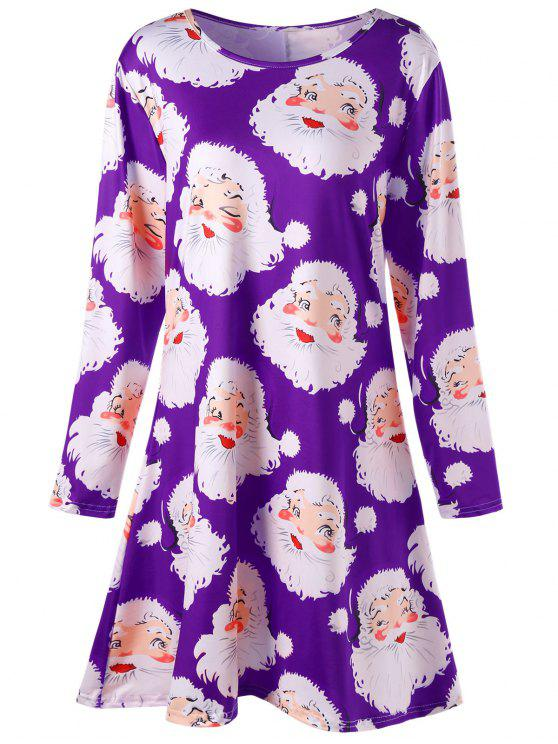 fancy Plus Size Santa Claus Print Mini Swing Dress - PURPLE 4XL