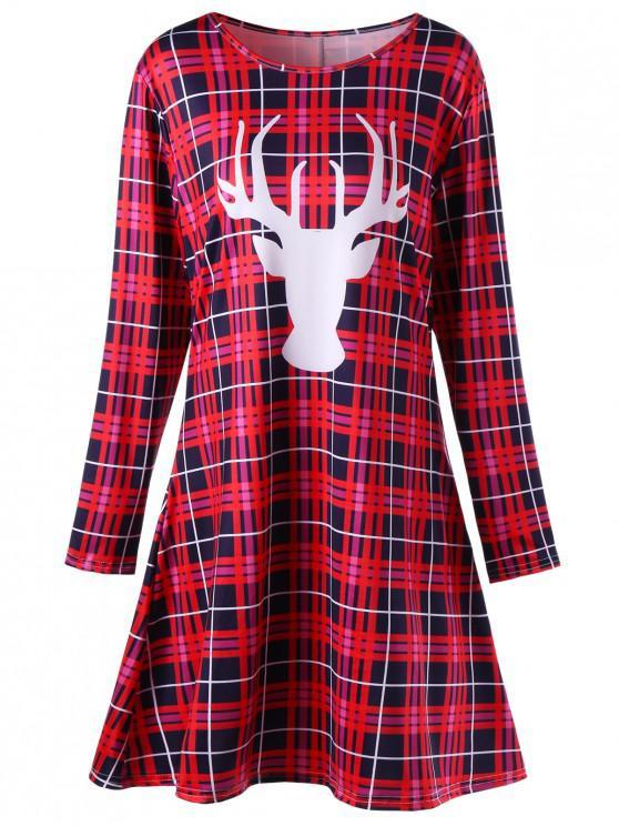 Robe Patineuse Courte Imprimée Carreaux et Cerf de Noël Grande Taille - Rouge 4XL