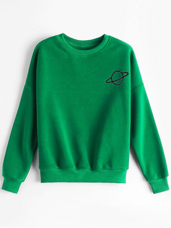 outfits Planet Graphic Drop Shoulder Sweatshirt - GREEN ONE SIZE