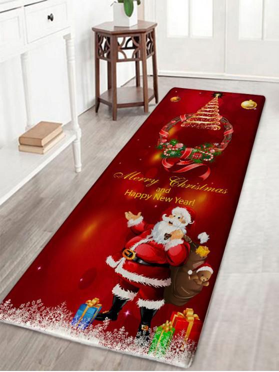 ladies Christmas Wreath Santa Claus Print Flannel Bath Rug - DARK RED W16 INCH * L47 INCH