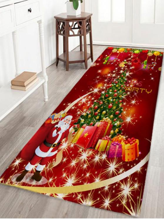 lady Christmas Tree Gift Santa Claus Print Flannel Skidproof Bath Mat - RED W24 INCH * L71 INCH