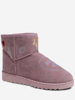 Patchwork Stitching Snow Boots - Pink 40