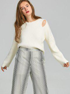 Cutout Ribbed Crew Neck Sweater - Off-white