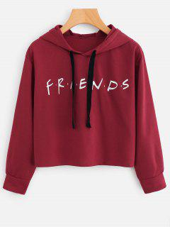 Drawstring Loose Letter Cropped Hoodie - Deep Red S