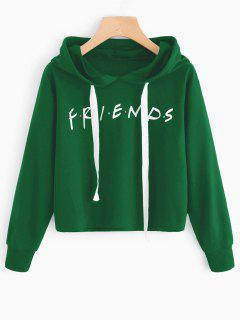 Drawstring Loose Letter Cropped Hoodie - Green S
