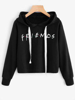 Drawstring Loose Letter Cropped Hoodie - Black M