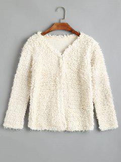 V Neck Textured Coat - Off-white L