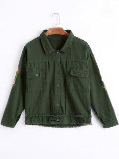 Frayed Floral Embroidered Denim Jacket - Army Green S