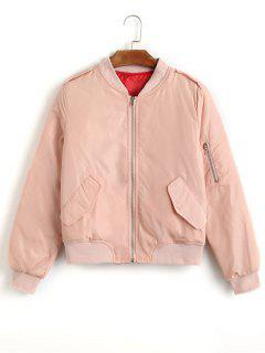 Einfache Jacke Mit Reißverschluss - Pink S