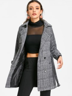 Single Breasted Belted Houndstooth Coat - Gray M