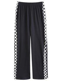 Square Contrasting Straight Pants - Black