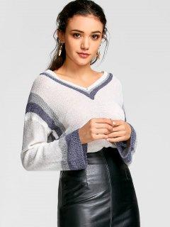 Color Trim Drop Shoulder Crochet Knit Top - White