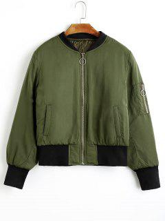 Zip Up Puffer Jacket With Pockets - Army Green M