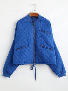 Oversized Zip Up Jacket With Pockets - Blue S