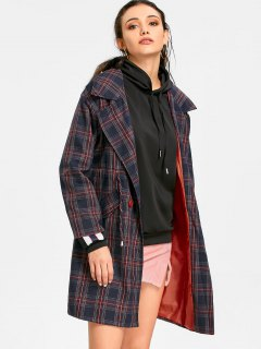 High Waist Tartan Trench Coat