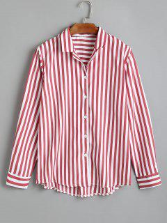 Striped Button Up Longline Shirt - Red M