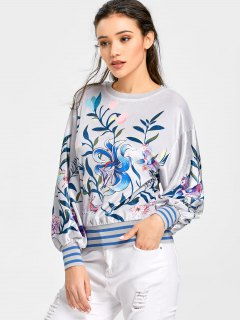 Drop Shoulder Velvet Floral Sweatshirt - Light Gray S
