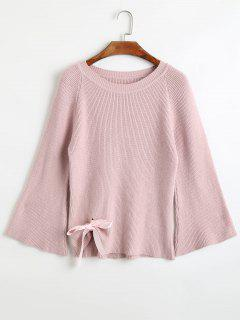 Flare Sleeve Bowknot Embellished Sweater - Pink