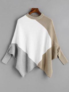 Color Block Crew Neck Cape Sweater - White